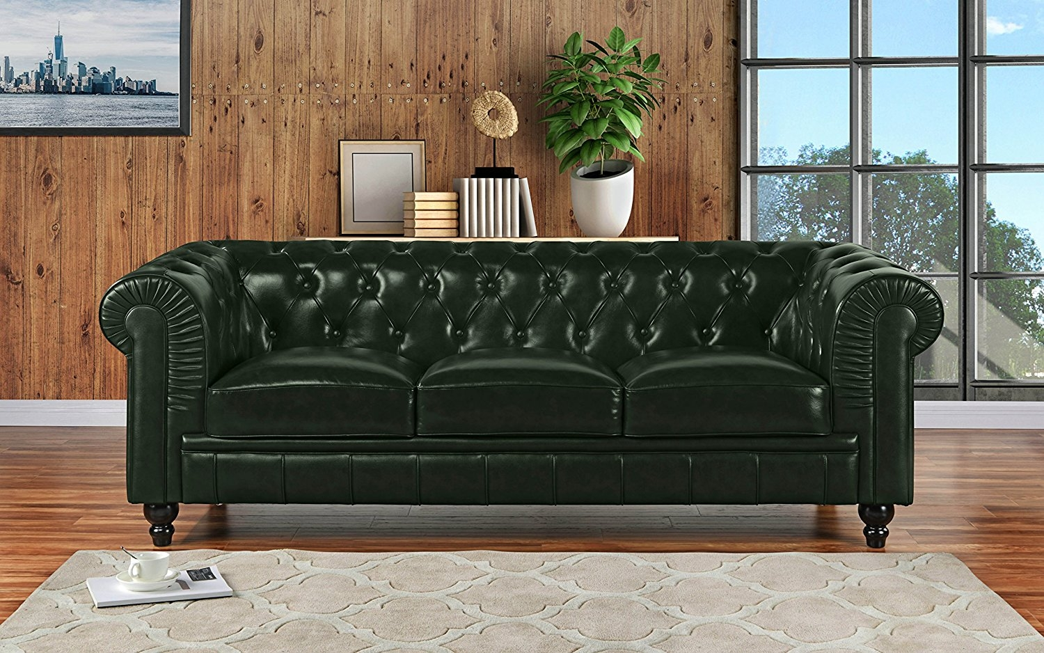 Classic Scroll Arm Real Leather Chesterfield Sofa (Green)   Walmart.com