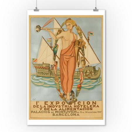 1ra Exposicion - Barcelona Vintage Poster (artist: Gali) Spain c. 1927 (9x12 Art Print, Wall Decor Travel (Best Of Barcelona Spain)