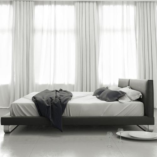 modloft jane platform bed in slate fabric - (queen) - walmart