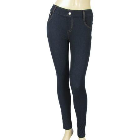 722857595c804 Yelete - Yelete Navy Blue Denim Jean Jeggings Fashion Stretch Skinny Legging  Pants - Walmart.com