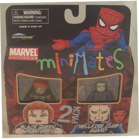 Marvel Minimates Series 34 Mini Figure 2Pack Black Queen Jean Grey &  Hellfire Club Guard by, Complete your Marvel Minimates Series 34 collection  By