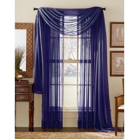 LuxuryDiscounts Beautiful Elegant Solid Navy Blue Sheer Scarf Valance Topper 40