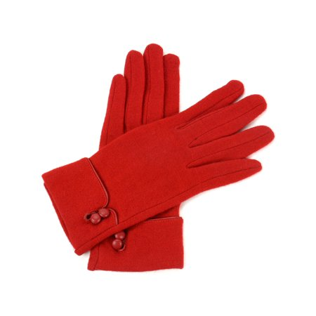 Ribbed Wool Gloves (Womens Wool & Leather Trim Touch Screen Texting Dress Button Gloves)