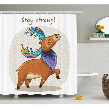 Moose Shower Curtain Deer With Scarf And Rainbow Retro Antler Horns Quote Stay Strong Rain Design Bohem Fabric Bathroom Set Hooks Multicolor
