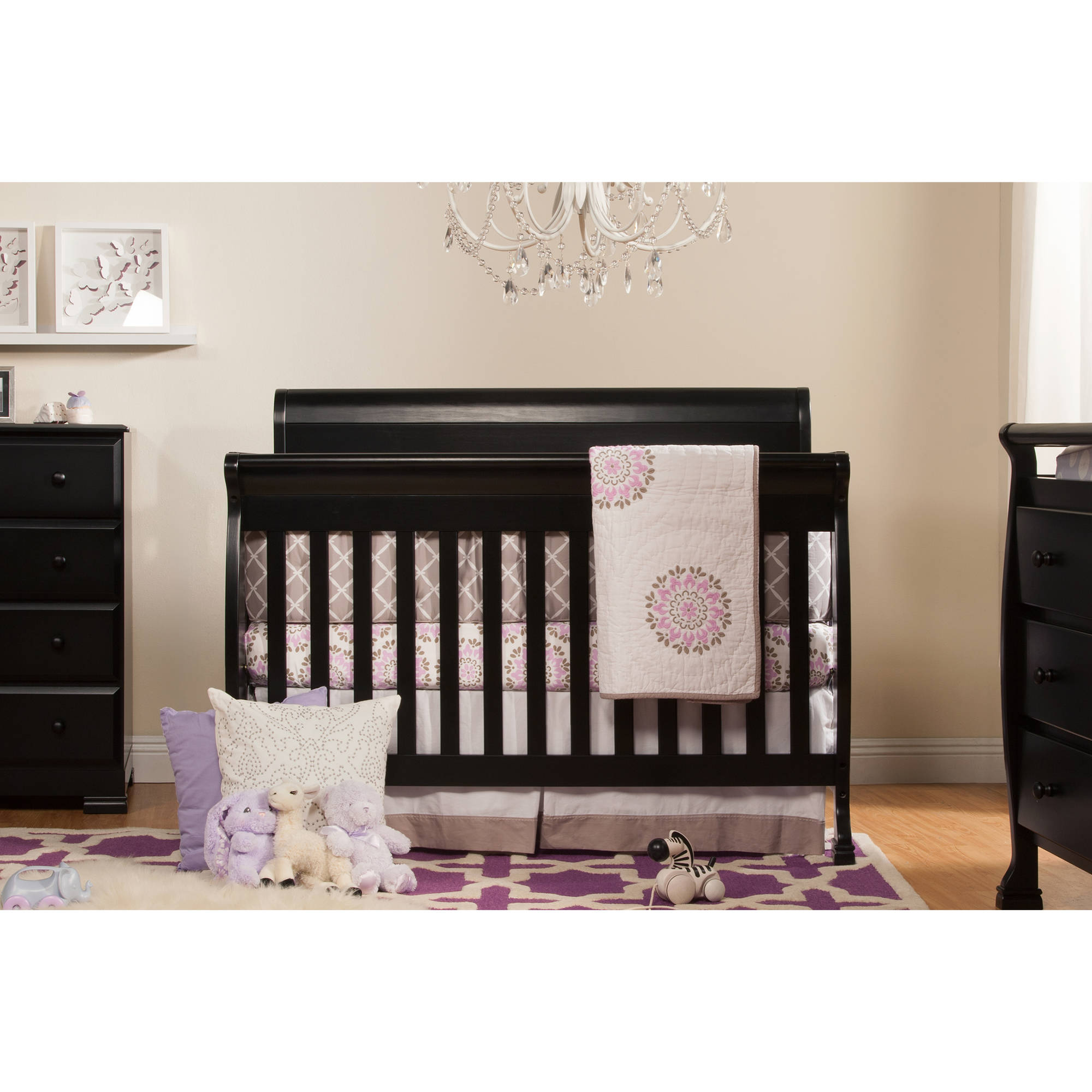 DaVinci Kalani 4-in-1 Fixed-Side Convertible Crib with Toddler Rail, Ebony
