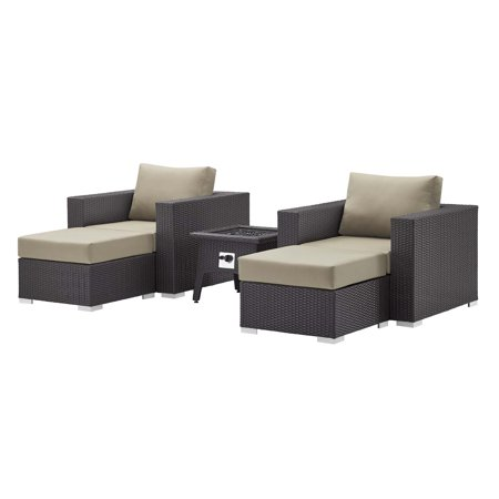 Contemporary Modern Urban Designer Outdoor Patio Balcony Garden Furniture Lounge Sofa, Chair and Coffee Table Fire Pit Set, Fabric Rattan Wicker, Beige