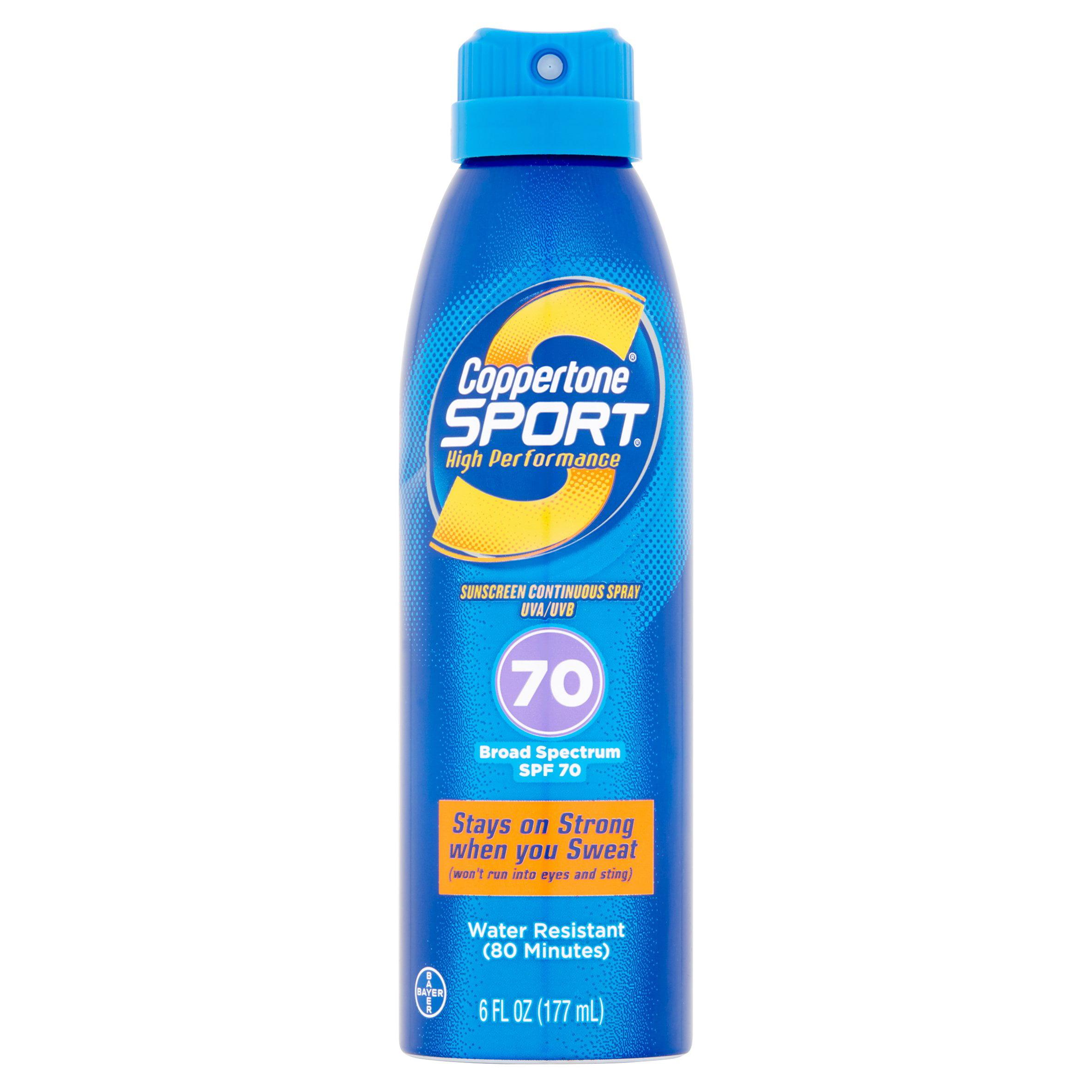 Bayer Coppertone Sport Sunscreen Continuous Spray UVA/UVB Broad Spectrum, SPF 70, 6 fl oz
