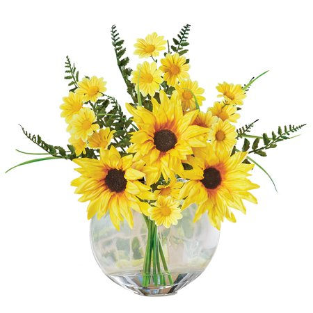 Artificial Sunflower Silk Flower Centerpiece Arrangement In Acrylic