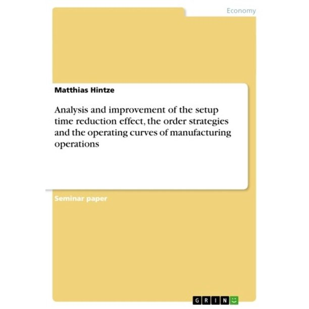 Analysis and improvement of the setup time reduction effect, the order strategies and the operating curves of manufacturing operations - eBook