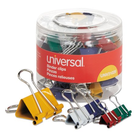 Binder Clips in Dispenser Tub, Assorted Sizes and Colors, 30/Pack ()
