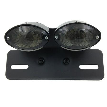 HTT-MOTOR Universal Cat Eye Custom Motorcycle Tail Brake License Plate light BLACK CLEAR