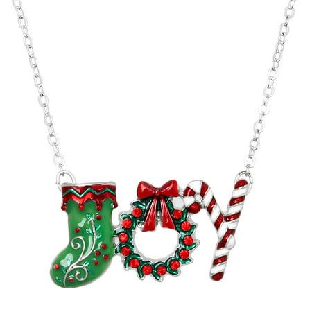 Christmas joy pendant necklace rhinestone crystal enamel rhodium christmas joy pendant necklace rhinestone crystal enamel rhodium high polished j0446 aloadofball Gallery