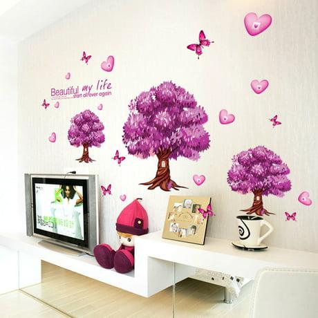 Trilocal arbres vivants d calque motif mur d 39 autocollant for Autocollant mural walmart