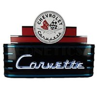 """CORVETTE CHEVROLET MARQUEE ART DECO NEON SIGN 39"""" Wall Window Steel Can Back New"""