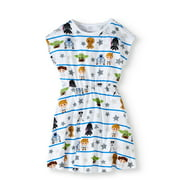 Star Wars Girls' Favorite Characters All Over Print Short Sleeve Graphic Dress With Silver Glitter on Stars