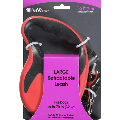 PetWear Large Retractable Dog Leash, Red