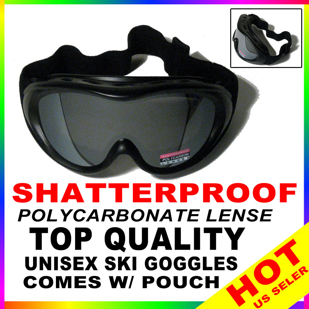 New Ski Snowboard Glasses Skiing Sun Goggle Sports Lense + Pouch New Frame Black by Snowboards