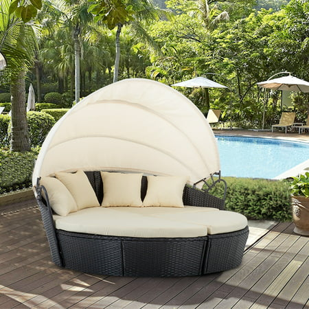 Outdoor Patio Round Daybed Furniture Wicker Rattan Sofa Set Sunbed Retractable Canopy Waterproof Cushions Lawn Garden