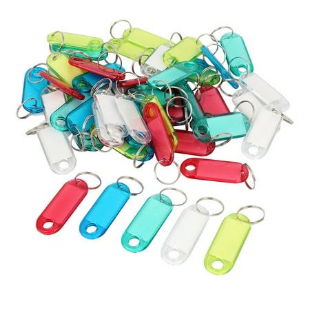 Unique Bargains Metal Split Ring Colorful Plastic Key ID Tag Name Label Keyring 50 Pcs
