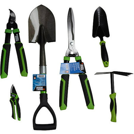 Black and decker home 6 piece garden tool kit multiple for Gardening tools list 94
