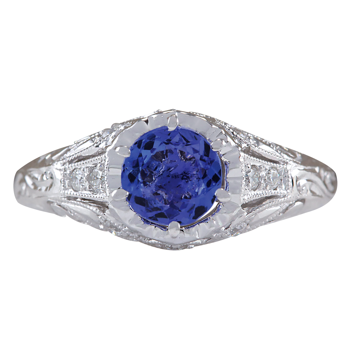 1.05CTW Natural Tanzanite And Diamond Ring 14K Solid White Gold by