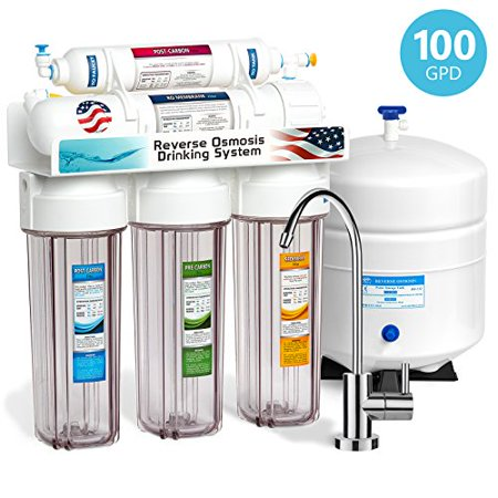 Express Water 5 Stage Under Sink Reverse Osmosis Filtration System 100 GPD RO Membrane Filter Modern Faucet Clear Housing Ultra Safe Residential Home Drinking Water Purification One Year Warranty