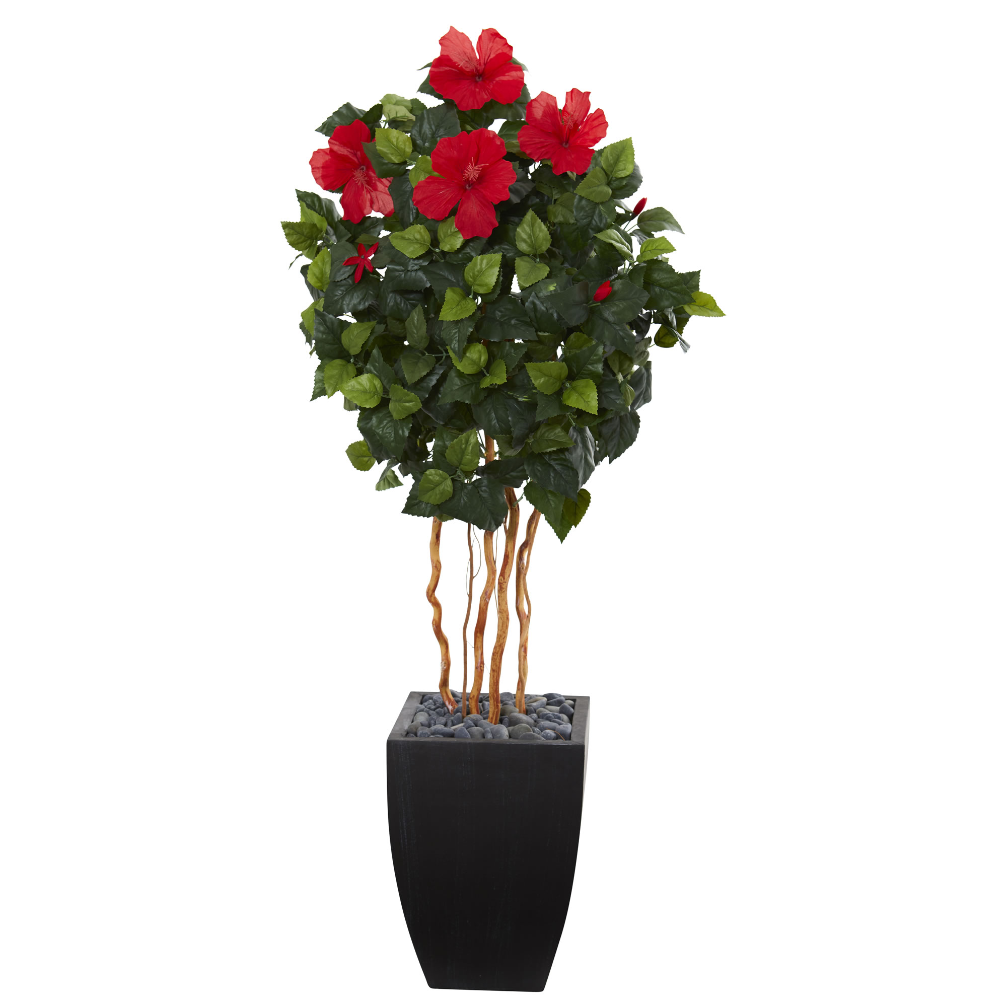 Nearly Natural 4.5 ft. Hibiscus Artificial Tree in Black Washed Planter