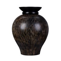 "Villacera Handmade 10"" Mango Wood Black Decorative Urn Vase 