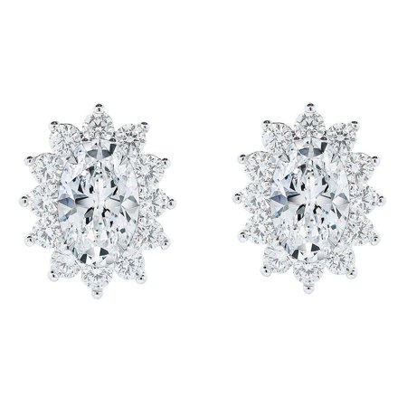 Crystal Cluster Stand (Cate & Chloe Sage 18k White Gold Halo CZ Stud Earrings, Beautiful Trendy Cubic Zirconia Flower Cluster Earrings, Oval Cut Crystal Sparkling Studs Earring Set, Crystal Earrings, )