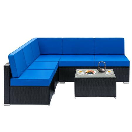 Fully Equipped Weaving Rattan Sofa Set with 1pcs Corner Sofas & 4pcs Single  Sofas & 1pcs Coffee Table Black