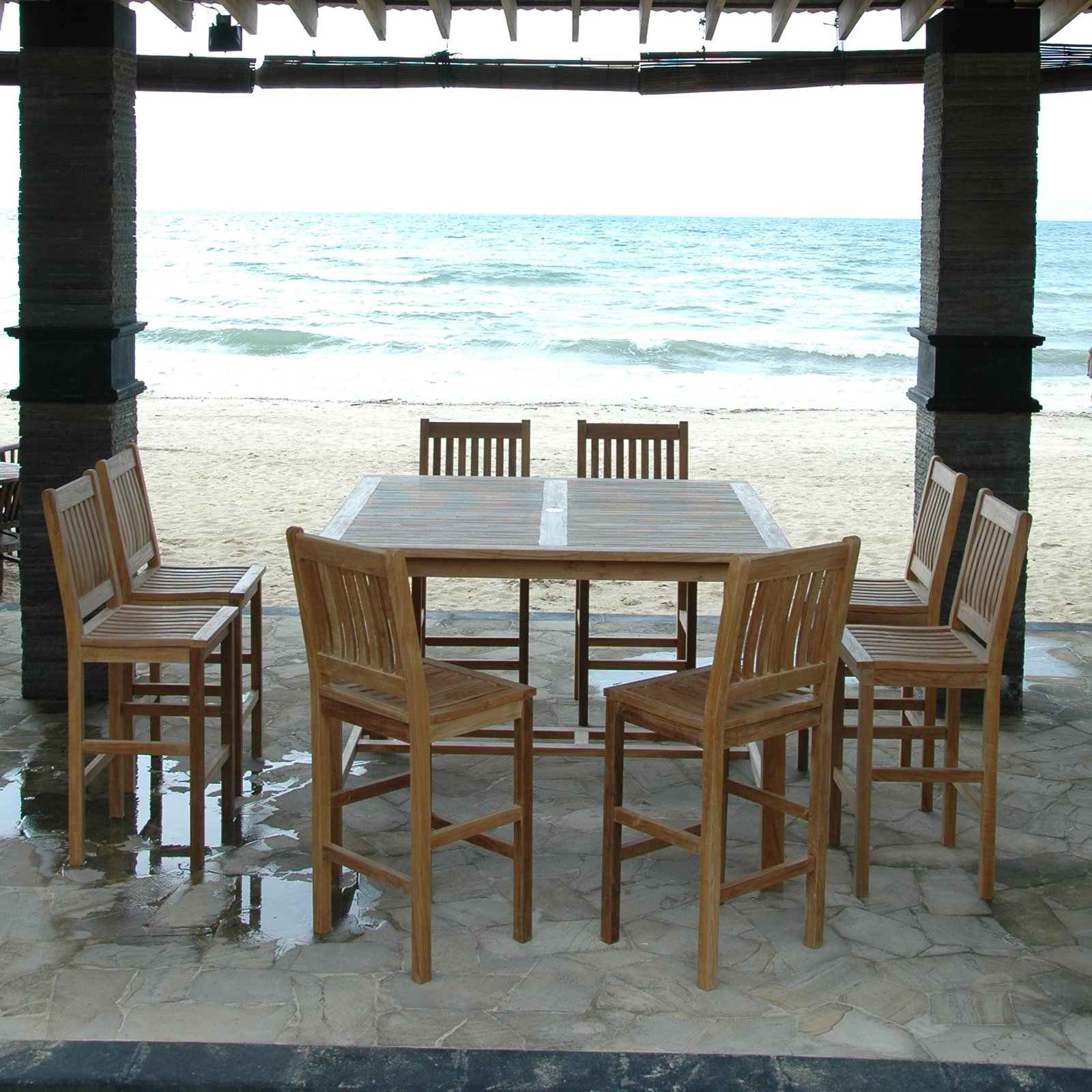 Anderson Teak Avalon 9 Piece Bar Height Patio Dining Room Set by