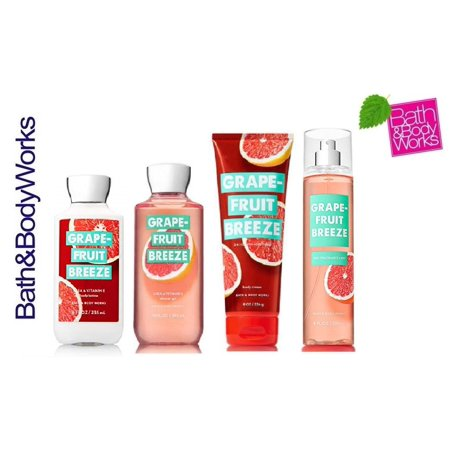 Bath and Body Works Grapefruit Breeze Deluxe Gift Set - Body Cream - Fine Fragrance Mist - Shower Gel & Body Lotion - Full - Deluxe Body