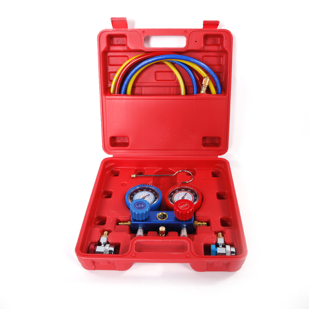 Zimtown A/C Manifold Gauge, R134 R134A R12 R22 Gauge Reading Auto Service Kit, HVAC Charging Diagnosis Tool,5ft Hose,  for Air Conditioner Refrigerant Maintenance