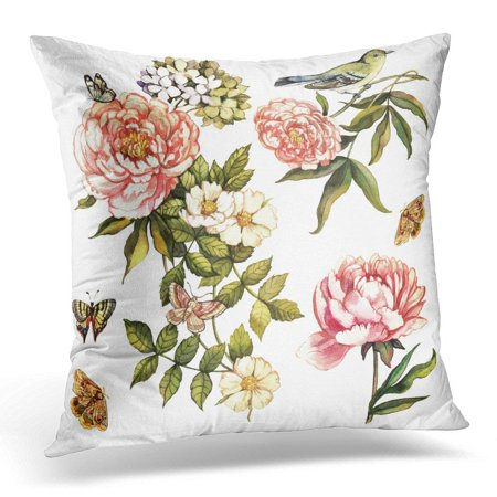 USART Oriental Vintage Floral with Bird Butterfly Hand Painting Original Watercolor Other Projects Flower Pillow Case Pillow Cover 20x20 inch
