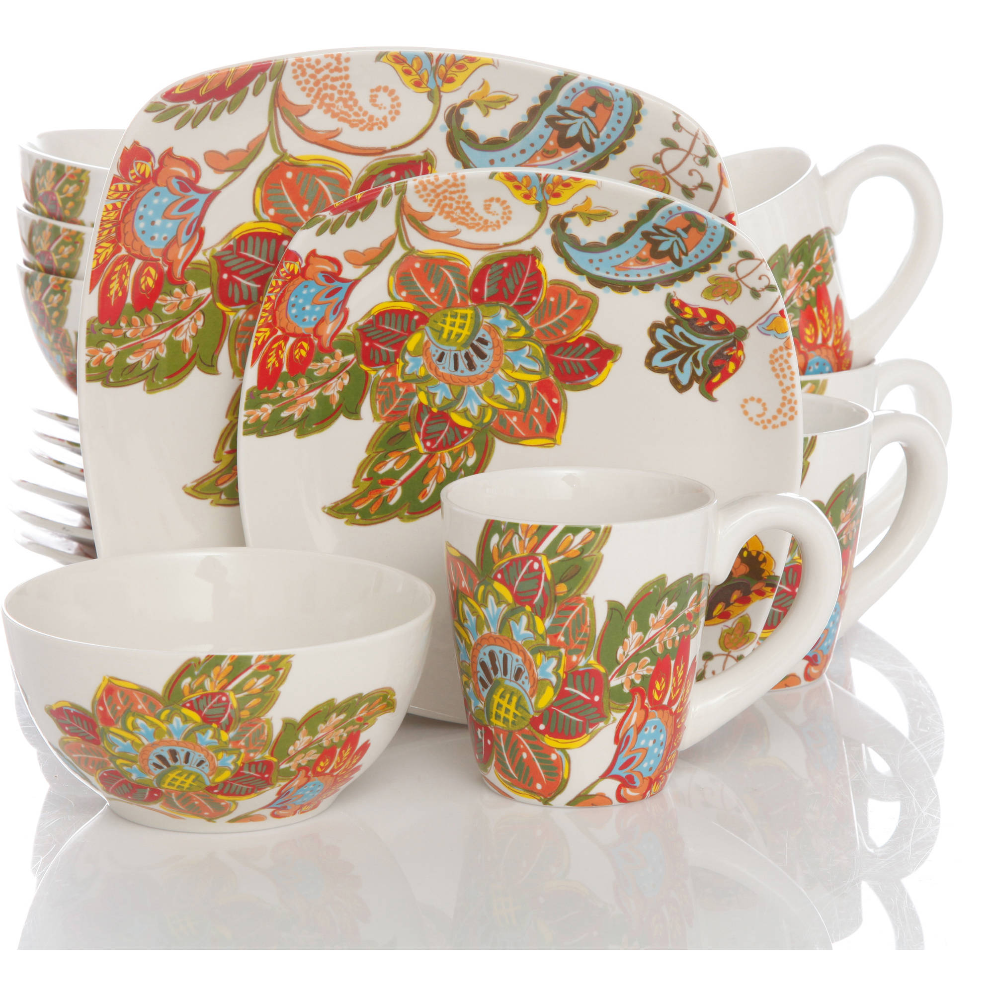 Better Homes And Gardens Floral Spray 16 Piece Square Dinnerware Set Multi Color Sets Of
