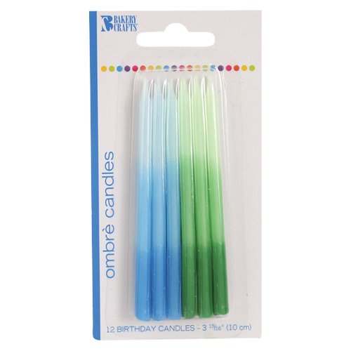 Bakery Crafts Ombre Birthday Candles, Blue/Green, 12 ct