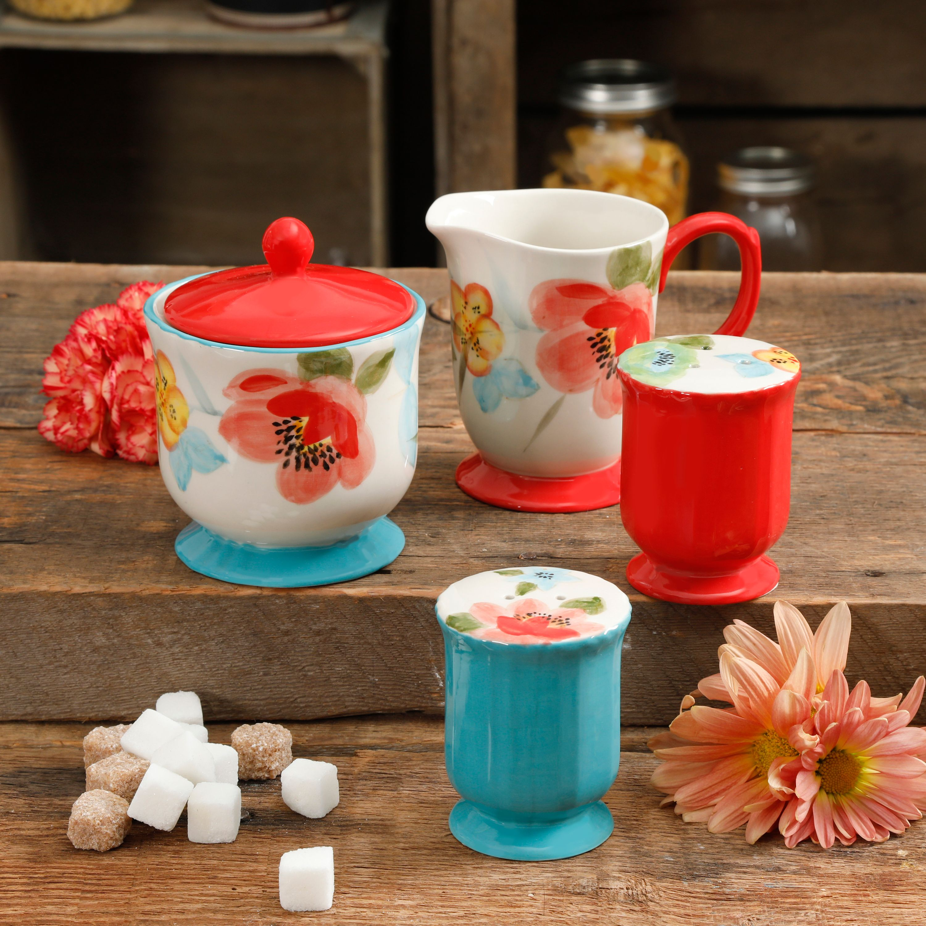 The Pioneer Woman Vintage Bloom 5-Piece Sugar and Creamer, Salt & Pepper Set