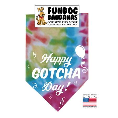 Fun Dog Bandana - Happy Gotcha Day! - One Size Fits Most for Medium to Large Dogs, bright tie dye pet scarf (Seahawk Dog Bandana)