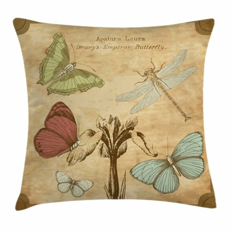 Dragonfly Throw Pillow Cushion Cover, Retro Style Butterflies with Flower Petals and Grunge Effects Artwork, Decorative Square Accent Pillow Case, 18 X 18 Inches, Sand Brown Caramel, by Ambesonne ()