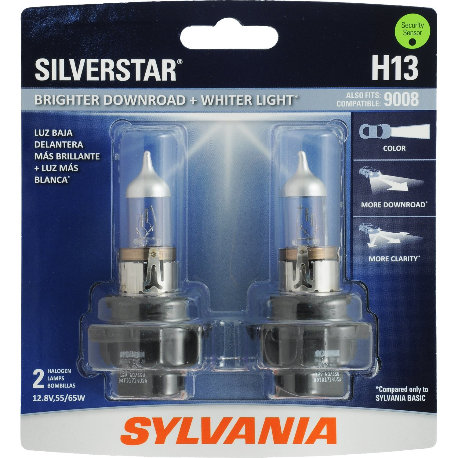 H13 SilverStar High Performance Halogen Headlight Bulb, (Contains 2 Bulbs) By Sylvania Ship from US