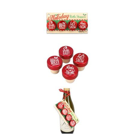 Ducky Days 7827250 1.25 x 1.25 in. Dia. Christmas Holiday Sayings Red Aluminum Top Bottle Stoppers - Set of 4 ()