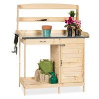 Best Choice Products Wooden Potting Bench w/ Metal Tabletop and Cabinet