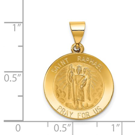 14K Yellow Gold Polished and Satin St. Raphael Medal Pendant - image 1 of 2
