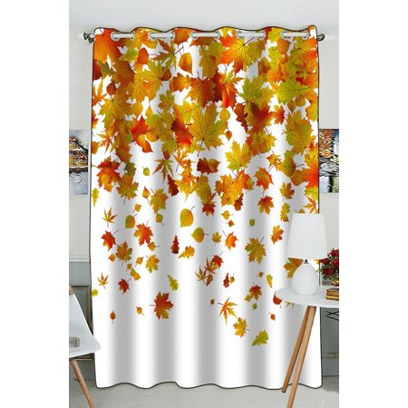 GCKG Falling Maple Leaves Window Curtain Kitchen Curtain Window Drapes Panel for Living Room Bedroom Size 52(W) x 84(H) inches (One Piece) ()
