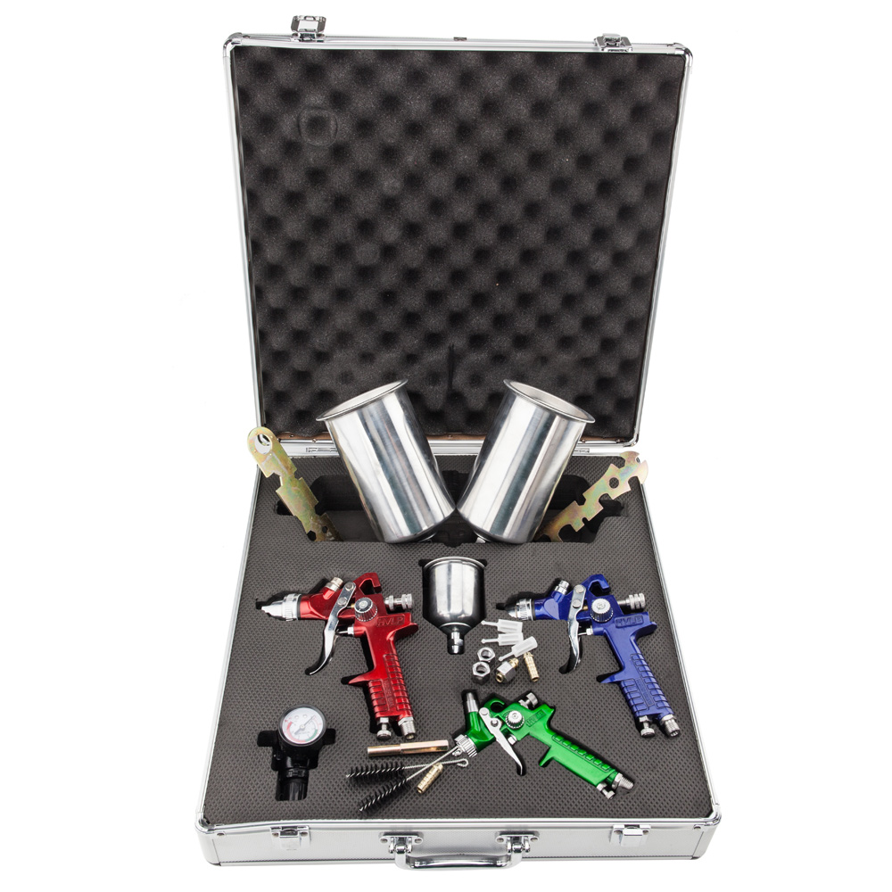 Zimtown 3 HVLP Air Spray Gun Kit Auto Paint Car Primer Detail Basecoat Clearcoat with Case