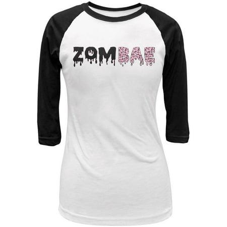 Halloween Zombae Zombie Brain Juniors 3/4 Sleeve Raglan T Shirt - Zombie T Shirts For Halloween