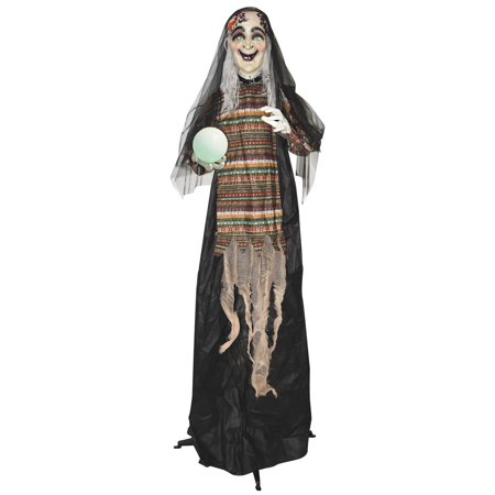 5' Animated Standing Fortune Telling Witch with Lights & Sound Halloween Decoration (Halloween Sounds App)