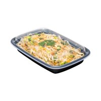 Disposable Plastic To-Go Containers And Lids - Rectangle - Black With Clear Lid - 16oz. - 100 Count Box