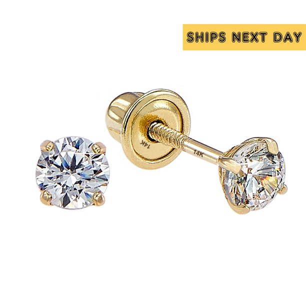 Tilo 14k Yellow Gold Solitaire Round Cubic Zirconia Stud Post Earrings With Screw-Backs (2 MM)