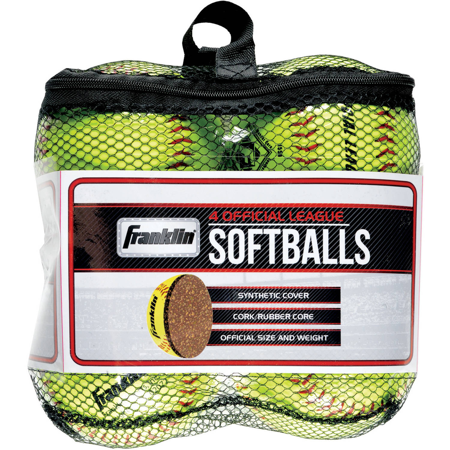 Franklin Sports 4 Official League Softballs, Yellow